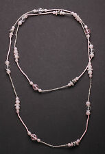 Romantic- Charming Baby Pink & Clear Crystal Beaded Long Necklace(Zx118)