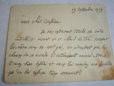 Carte Lettre autographe Emile Baumann 19 septembre 1929 Écrivain Français
