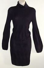 Looks New Womens Tahari Dress Sz S Purple Turtle Neck Stretch Sweater Dress