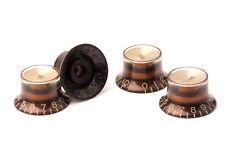 "Reflector Head Knobs (Set 4) Ltd. ""Black'n'Gold"" Goldface  US/CTS-Gibson® Pots"