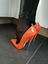 43 44 17cm Sexy high heels patent red strap pumps metal fetish high heels