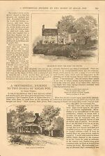 Edgar A. Poe, Sentimental Journey Two Of His Homes, Vintage 1883 Antique Article
