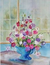 """Suzanne Obrand, Holocaust Survivor, Watercolor Painting """"Flowers in a Teal Vase"""""""