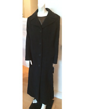 DONNA KARAN Cashmere Wool BLACK SIGNATURE DRESS COAT LONG!14 dkny RARE NWT large