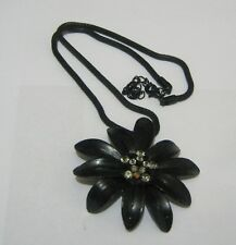 flower pendant 40 - 47 cm long Lovely black tone metal chain necklace with black