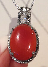 """RED AGATE OVAL 15.50 CT., CZ ACCENTED PENDANT WITH 20"""" STAINLESS STEEL CHAIN"""
