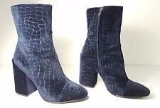 $250 size 37 Ash Flora Blue Croc Embossed Velvet Heels Ankle Boots Womens Shoes