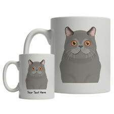 British Shorthair Cat Cartoon Mug - Personalized Text Coffee Tea Cup