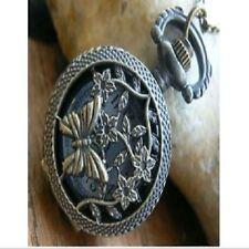 Inusual Regalo para ella Reloj De Bolsillo Collar Vintage Bronce Mariposa De Filigrana