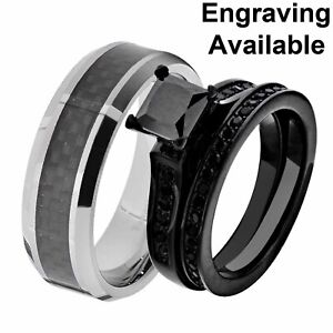 His & Hers Black Stainless Steel Black Wedding Ring Sets Tungsten Men Band XI