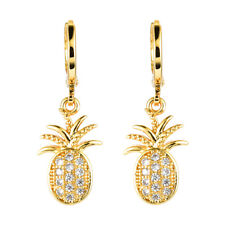 Women 18K Gold Plated Pineapple Micro Paved CZ Stones Drop Earrings Jewelry