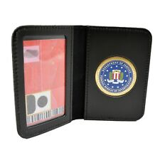 FBI Medallion Leather ID Card Case Contractor License Credit Holder Perfect Fit