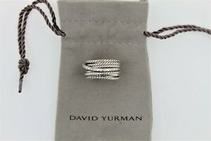 David Yurman Sterling Silver 925 Crossover Wide Ring with Pave Diamonds Size 5.5