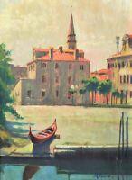 Venise, Ville, Canal, Peinture à l'huile italienne moderne signée Vaccaro