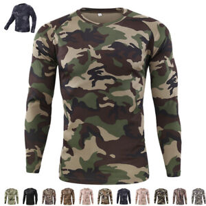ESDY Mens Combat T-shirt Long Sleeve Camouflage Army Tactical Military Casual