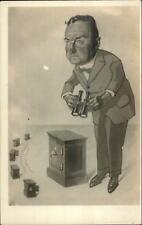 Comic Art on Real Photo Postcard Safes Banks Man w/ Binoculars c1910