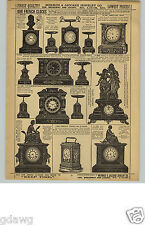 1880s PAPER AD French Clocks Travel Alarm Marble Mermod & Jaccard Glass Dome