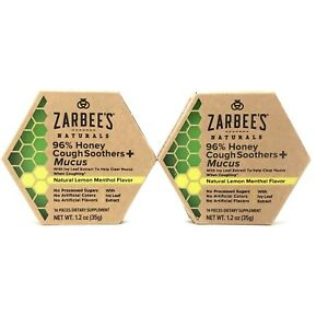 Zarbees 96% Honey Cough Soothers + Mucus Natural Lemon Menthol Exp 10/22 2 Pack