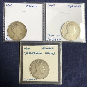 Lot 111: Canada Silver 50 Cent Lot 1907-10 - 3 Coins - Key Dates - High Quality