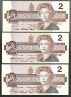Canada Two Dollar $2 (1986) - 3 CONSECUTIVE ALMOST UNC NOTES