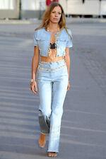 Chanel Runway Denim Jeans with Swarovski CC Strass Crystals FR 36 NWT $2840