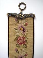 Antique Victorian Needlepoint Wall Hanging 47 3/4'' long Bell Pull Tapestry Look