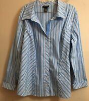 Lane Bryant Long Sleeve Blue/White Striped Button Front Blouse Size 22/24