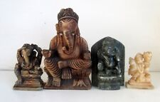 Vintage Old Soft Marble Stone Lot Of 4 Hindu God Ganesha & Hanuman Figure Statue