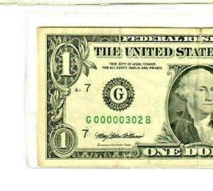 """$1  3-DIGIT!!!  (00000302) 1995 """"LOW SERIAL"""" $1 (CHICAGO) $1 00000302  LOWWWWW"""