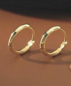 Pair Small Thin Hoop Earrings Stainless Steel Hinged Women Men Earrings 8mm *UK*