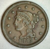 1853 Braided Hair Large Cent Copper Very Fine Genuine US Coin M2 VF