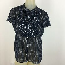 American living Ralph Lauren woman shirt size large Navy polka dot Semi Sheer