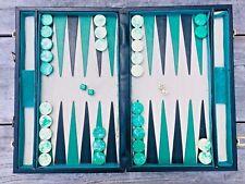 Crisloid? Green White Marbled Bakelite Backgammon Set