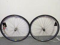 Vintage 700C wheelset Shimano Tri Color hubs Mavic blue ano rims FH-6402 HB-6400