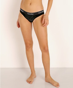 Calvin Klein Women's Modern Cotton Velvet Ribbed Bikini Panties, Black , Medium