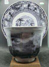 1845 T WALKER TAVOY Flow Black Transferware Cup & Saucer Staffordshire pearlware