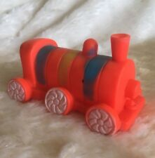 Stahlwood Rubber Squeaky Train Toy Orange Blue Yellow Vintage Baby Engine