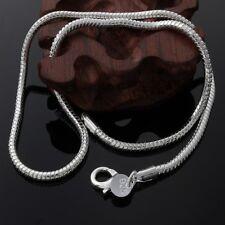 925 Silver Sterling 3mm Solid Snake Chain Necklace Pendant Anklet Bracelet UK