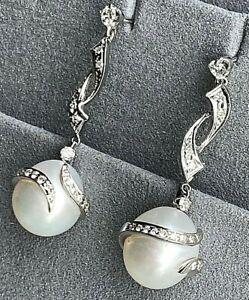 Diamond Wrapped South Sea 12mm Pearl 18K White Gold Intricate Dangle Earrings
