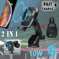 Qi 10W Wireless Automatic Clamping Fast Charging Car Charger Mount Stand Holder