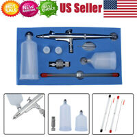 Gravity Feed Dual Action Airbrush Kit Set Tool 0.2mm/0.3mm/0.5mm Needles Nozzles