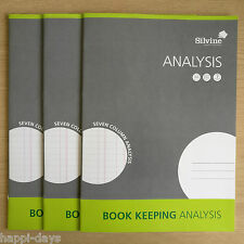 NEW - 3 x A4 BOOK KEEPING ANALYSIS - Accounts Office Home Cash Ledger Books x 3
