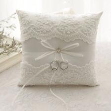 Ringkissen Weiß Perlen Blumen Ring Kissen Eheringe für Hochzeit 20x20cm DE