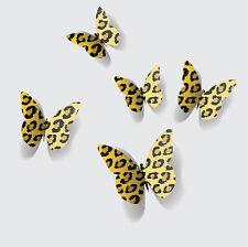 3D Jaune Imprimé Léopard Papillon Autocollant Mural / Mur Décors / Art Mural