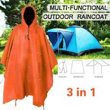 3 IN 1 Hooded Raincoat Poncho Women Men Outdoor Waterproof Rain Coat Rainwear US