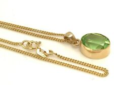 "9ct gold peridot gemstone oval necklace, new, actual one 16"" length, 10 x 8mm"