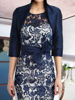 Navy Women Formal Evening Dress Free Jacket Mother of the Bride/Groom Dress 2-18