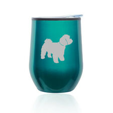 Stemless Wine Tumbler Coffee Travel Mug Glass Cup w/ Lid Maltipoo