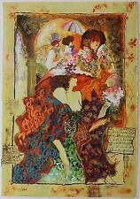 Sergey Kovrigo Limited Edition Vintage Serigraph Hand Signed Flowers Figures