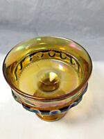 Vintage Indiana Glass Carnival Kings Crown Thumbprint Compote Candy Dish